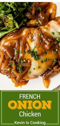 Don't miss this French Onion Chicken recipe! Tender chicken that practically falls off the bone with a touch of spice and fresh veggies.
