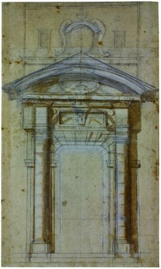 Michelangelo Buonarroti. Study for the Porta Pia in Rome, ca. 1561. Black chalk, pen and ink with brown wash, white heightening. 470 x 280 mm.