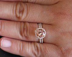 Morganite Engagement Ring Diamond Wedding Ring by Twoperidotbirds