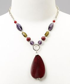 Take a look at this Purple Glass & Red Lucite Pendant Necklace by Majestic on #zulily today!