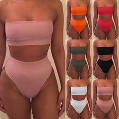 UK Women Bandage Bikini Push-up Padded Bra Swimsuit Bathing 2pcs Set Swimwear | eBay