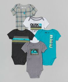 Another great find on #zulily! Metal & Cyan Bodysuit Set - Infant by Quiksilver #zulilyfinds