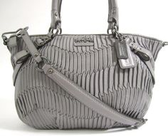 NEW AUTH COACH Gray Ruched Leather Sophia Handbag at www.ShopLindasStuff.com