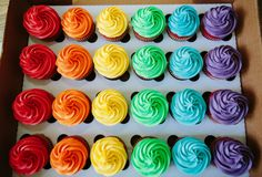 rainbow cupcakes from Have A Gay Day Rainbow Desserts, Rainbow Food, Rainbow Cupcakes, Rainbow Theme, Taste The Rainbow, Mini Cupcakes, Cupcake Cakes, Colored Cupcakes, Buttercream Cupcakes