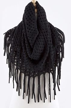 Black+fringe+crochet+scarf.+Perfect+for+accessorizing+your+outfit.