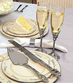 Elegantly Crafted Our Satin Finish Champagne Flutes Cake Server Sets Are