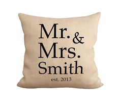 Mr. & Mrs. Monogram Pillow || burlap front, canvas back || customize at fiberandwater.com