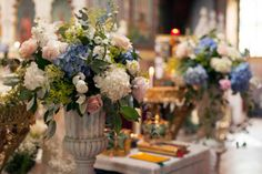 Flower decorations in the Russian Orthodox Church in Florence http://www.exclusiveitalyweddings.com/blog/orthodox-russian-wedding-in-italy-yuri-and-yana