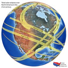 Eclipse Every total solar eclipse to come to North America this century, mapped. - Every total solar eclipse to come to North America this century, mapped. Solar Eclipse Map, Terre Plate, Eclipse Project, Total Eclipse, August Eclipse, 2024 Eclipse, Flat Earth, Online College, Our Solar System