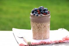 Overnight Oats with a Blueberry-Cashew Cream