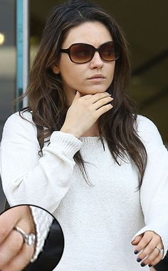 Mila Kunis is now engaged to Ashton Kutcher.  Wonder if her ring is bigger than Demi's?