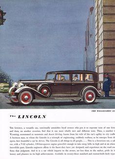 1934 BIG Vintage Lincoln Willoughby Limousine Car Automobile Art Print Ad