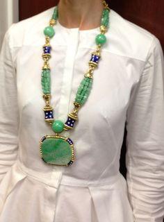 David Webb vintage carved jade, enamel and diamond sautoir c. 1960s