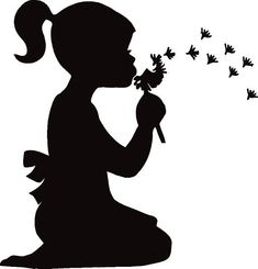 Little girl silhouette blowing. Little girl silhouette blowing bubbles. Little girl blowing dandelion silhouette. Blowing Dandelion, Dandelion Wall Art, Dandelion Flower, Girl Silhouette, Silhouette Images, Silhouette Portrait, Kissing Silhouette, Flower Silhouette, Silhouette Painting