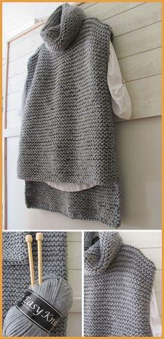 Easy Knit Women Sweater Vest - Free Pattern - knitting is as easy as . - Easy Knit Women Sweater Vest – Free Pattern – Knitting is as easy as 3 Knitting boils dow - Knit Vest Pattern, Sweater Knitting Patterns, Knitting Sweaters, Women's Sweaters, Free Knitting Patterns For Women, Sewing Patterns, Outlander Knitting Patterns, Knitting Squares, Crochet Patterns