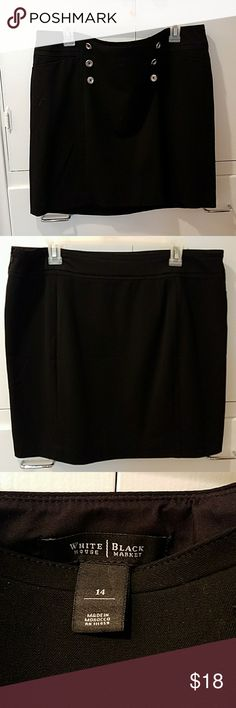 White House Black Market Skirt This is a polyester lined 62% polyester 33% rayon 5% spandex skirt. It is 18 inches long and 19 inches wide with cute silver button detail. White House Black Market Skirts Midi