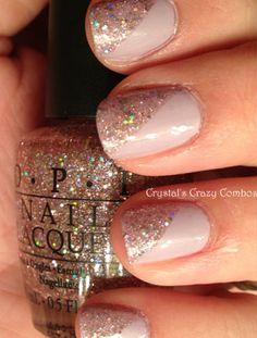 Diagonal, glitter French tip.