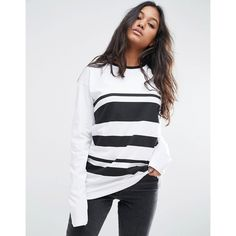 ASOS T-Shirt In Block Stripe With Long Sleeves ($26) ❤ liked on Polyvore featuring tops, t-shirts, white, long sleeve cotton t shirts, tall long sleeve t shirts, cotton t shirts, white cotton t shirts and white stripes t shirt