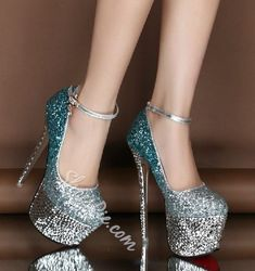 6d3ddb97038f Michaela D. Good-looking Contrast Color Glitter Platform Heels. Fashion For  High Heels And Shoes