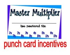 multiplication facts punch cards – hole punch each number as kids master that times table.  part of huge bundle of 50 timed multiplication quizzes – some on single times tables and some cumulative.  $2.00