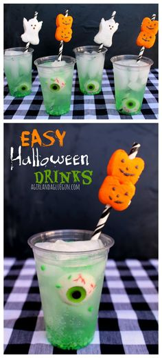 fun and easy halloween drinks with eyeballs and peeps on straws