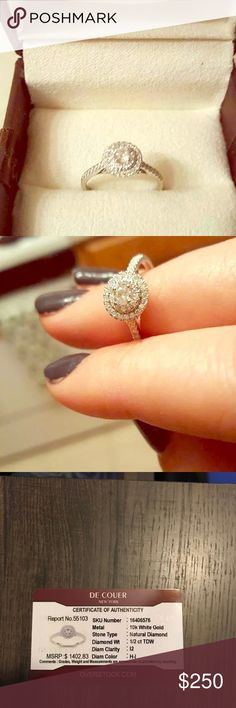 De Couer 10k White Gold 1/2ct TDW Diamond Double De Couer 10k White Gold 1/2ct TDW Diamond Double Halo Engagement Ring (H-I, I2) Size 7.5. De Couer Jewelry Rings