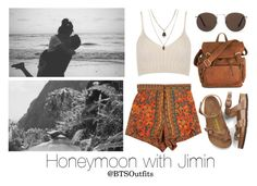 """""""Honeymoon with Jimin"""" by btsoutfits ❤ liked on Polyvore featuring Birkenstock, MANGO, WithChic and Jamie Jewellery"""