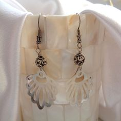 Bohemian Fan Shell Dangles- Tribal Fan Shell Earrings- Exotic White Shell Dangles- Sterling Silver Shell Earrings- Boho Dangles in Sterling Shell Earrings, Boho Earrings, Exotic, Shells, Dangles, Feminine, Bohemian, Fan, Jewels