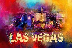 """Sending Love To Las Vegas"" #colorful #abstract #city #art http://shop.jaiart.com/featured/sending-love-to-las-vegas-jai-johnson.html"