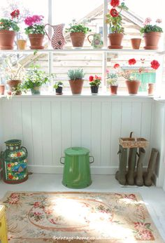 The Garden Porch with Pots of Geraniums and a Pretty Vintage Rug | English Country Cottage | Herefordshire.
