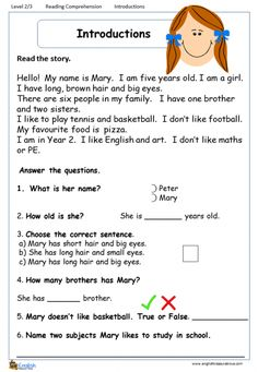 english reading and comprehension worksheets English Stories For Kids, English Grammar For Kids, Learning English For Kids, Teaching English Grammar, English Worksheets For Kids, English Writing Skills, English Reading, English Lessons, First Grade Reading Comprehension