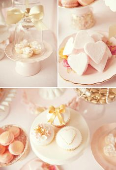 Pretty pink and gold cupcakes, marshmallows, and macarons.