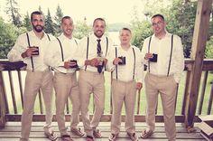 Rustic Muskoka Lake Wedding - Groom, suspenders