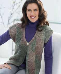 Mitered Square Vest - free pattern from Red Heart - uses worsted weight long striping yarn.