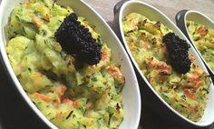 Voilà un repas du soir très simple à préparer… un parmentier allégé par des courgettes et sublimé par du saumon et des oeufs de lompe (ou du Caviar !!!). #Diabète