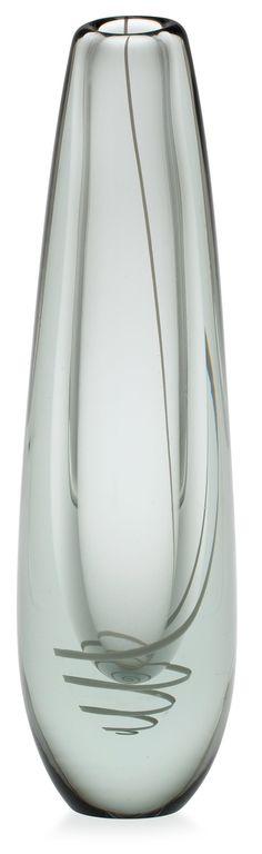 ** Gunnel Nyman 1909-1948 A VASE.  Serpentine. Signed G. Nyman, Nuutajärvi Notsjö. White opaline ribbon enclosed in clear glass. Height 38 cm.