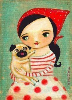 Babushka and Pug Dog Happy: print made from Tascha painting 7x5