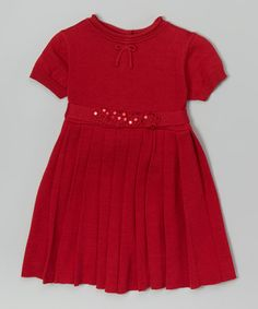 Look what I found on #zulily! Red Pleated Dress - Infant & Toddler #zulilyfinds