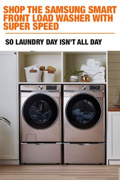Samsung Smart Front Load Washer With Super Speed at The Home Depot Laundry day should not take all day. Shop the Samsung Smart Front Load Washer with Super Sp Room Organization, Laundry Dryer, Samsung Laundry, Washer And Dryer, Stacked Laundry Room, Storage System, Laundry, Room Storage Diy