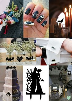 #Batman Wedding Styling Ideas Mood Board from The #Wedding Community  #weddingideas #coolwedding #funwedding #batmanwedding #weddingstyling
