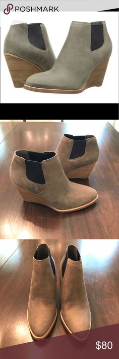 Cole Haan Balthasar Bootie NWT, box included. Oiled nubuck leather upper. Dual side goring for easy on and off. Full leather lining. Padded leather insole. Stacked wedge heel. Buffed leather outsole. Heel Height: 3.5 in. Color: Greystone Cole Haan Shoes Ankle Boots & Booties
