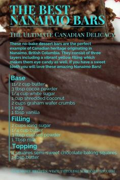 The Best Nanaimo Bars Recipe- A True Canadian Delicacy, eh Do you love Nanaimo bars but haven't found the best recipe yet? Here it is: How to make The Best & Easiest Nanaimo Bars Ever! Sandwich Bar, Open Sandwich Recipe, Roast Beef Sandwich, Nanaimo Bars, Chocolate Graham Crackers, Chocolate Topping, Canada Day, No Bake Desserts, Delicious Desserts