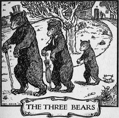 Book illustration for the children's fairy tale of 'The Three Bears'. 1906