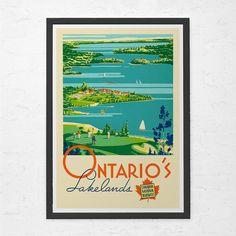 ONTARIO TRAVEL POSTER - Antique Canada Travel Poster - Vintage Travel Poster, Travel Print, Wall Art