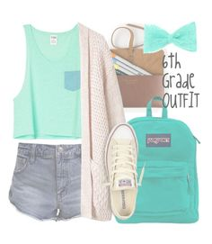 """""""6th Grade Outfit"""" by volleyballspikr ❤ liked on Polyvore featuring Free People, JanSport and Converse"""