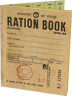 World War Two Ration Book Copy of a ration book Front Cover Blank inside cover lists Names and Addresses of Retailers Great Teaching and Learning Aid Penguin Books, Start Of Ww2, Wartime Recipes, 1940s Party, Food Rations, The Blitz, Battle Of Britain, Remembrance Day, World War One