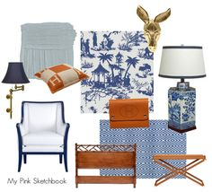 #blue and white toile with #orange lacquer #leather chic, #chinoiserie and #zebra rug, #brass #hermes gorgeousness by @Alexandra Rae of http://mypinksketchbook.blogspot.com