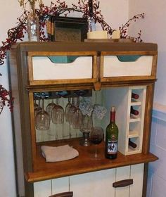 Wine bar's makes for a great wine rack, and a place for your wine glasses, and your favorite wine storage. This rustic wine bar is great Refurbished Furniture, Repurposed Furniture, Furniture Makeover, Chair Makeover, Cabinet Makeover, Vintage Dressers, Old Dressers, Old Dresser Drawers, Furniture Projects