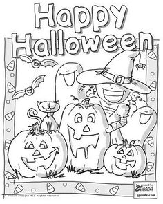 Happy Halloween Coloring Pages witch bat cat ghost pumpkin