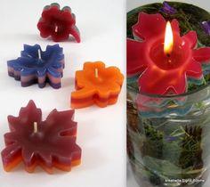 Schwimmkerzen Blätterreigen 4 Stück bunt DW  von Kreatiwita - Kerzenkunst auf DaWanda.com